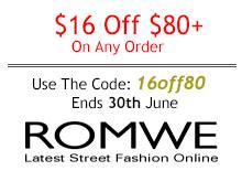 Промо-код Romwe – Скидка 16$